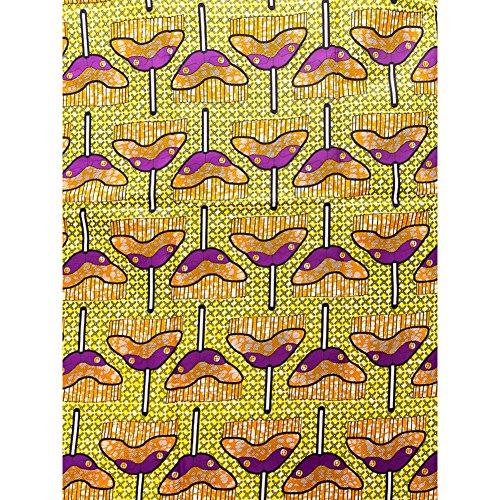 Ethnic Fabrics Online Real Wax Purple Orange Yellow Mop Design rw2017