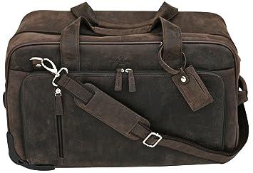 S Babila - Bolsa de viaje con ruedas - Ideal para equipaje de mano - Cuero de flor - Barro: Amazon.es: Equipaje