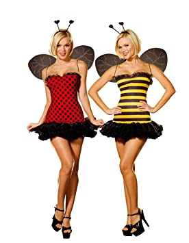 César - Pack de 2 disfraces de abeja y mariquita sexys para mujer ...