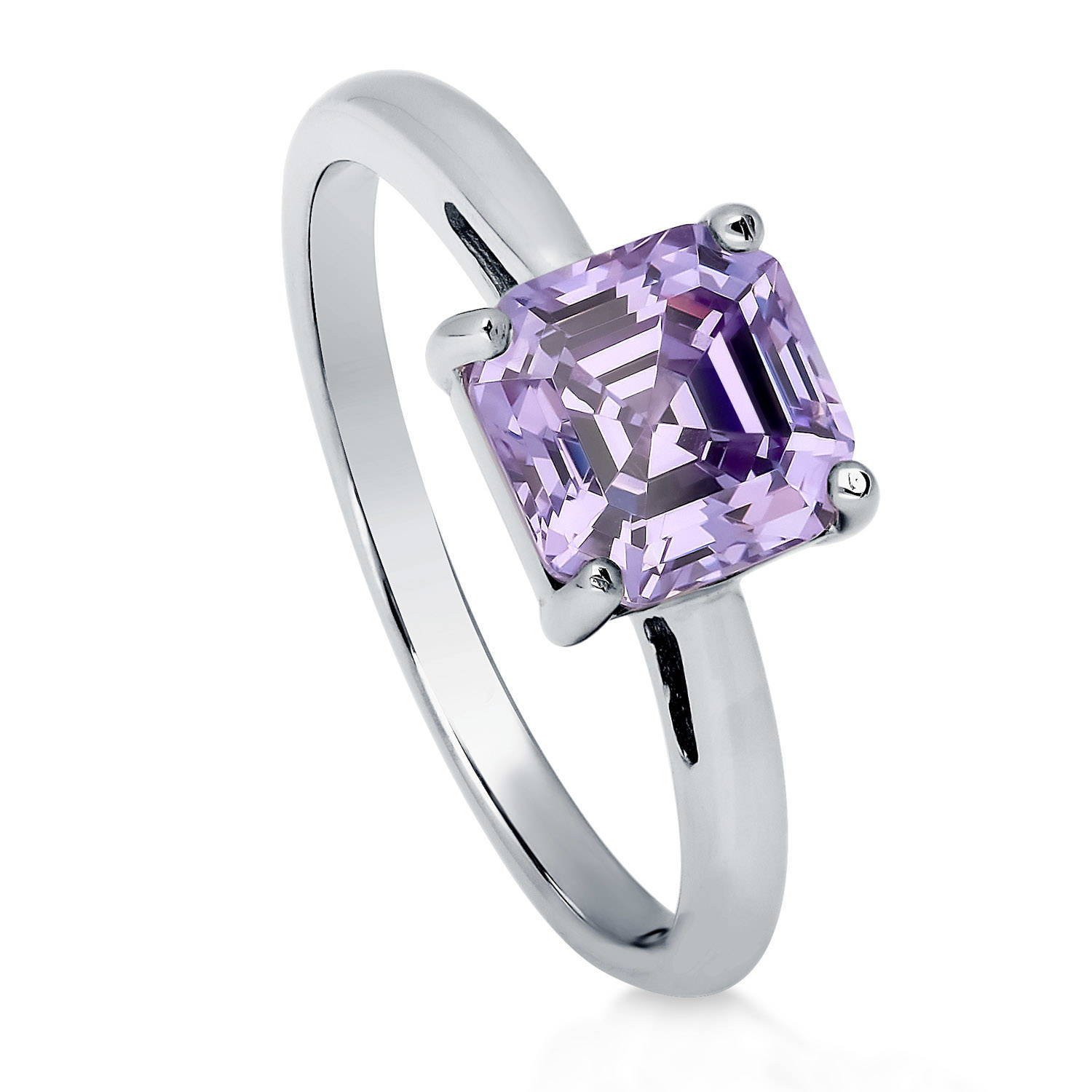 BERRICLE Rhodium Plated Sterling Silver Cubic Zirconia CZ Solitaire Engagement Ring Size 7