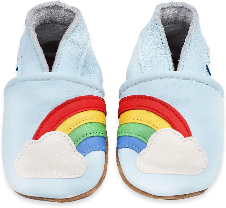 Dotty Fish Zapatos de Cuero Suave para bebés. 0-6 Meses a 4-5 Años. Antideslizante. Niñas Primeros Pasos.