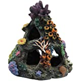 PINVNBY Coral Aquarium Decoration Fish Tank Resin Rock Mountain Cave Ornaments Betta Fish House for Betta Sleep Rest…