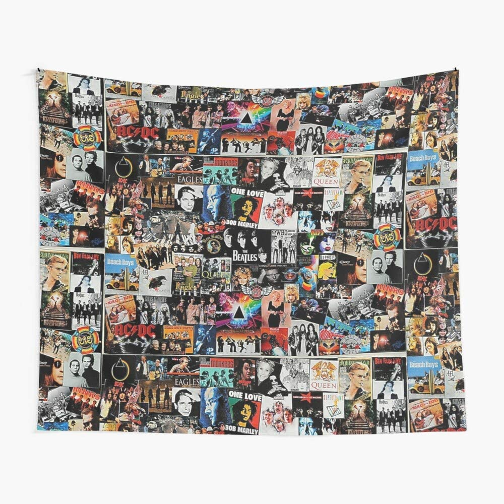 CuYatry Rock Collage Boutique Tapestry Wall Hanging Tapestry Vintage Tapestry Wall Tapestry Micro Fiber Peach Home Decor 59.1X51.2 in