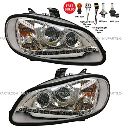 amazon com: headlight with led strip - driver & passenger side (fit:  freightliner m2 106 112 business class trucks): automotive