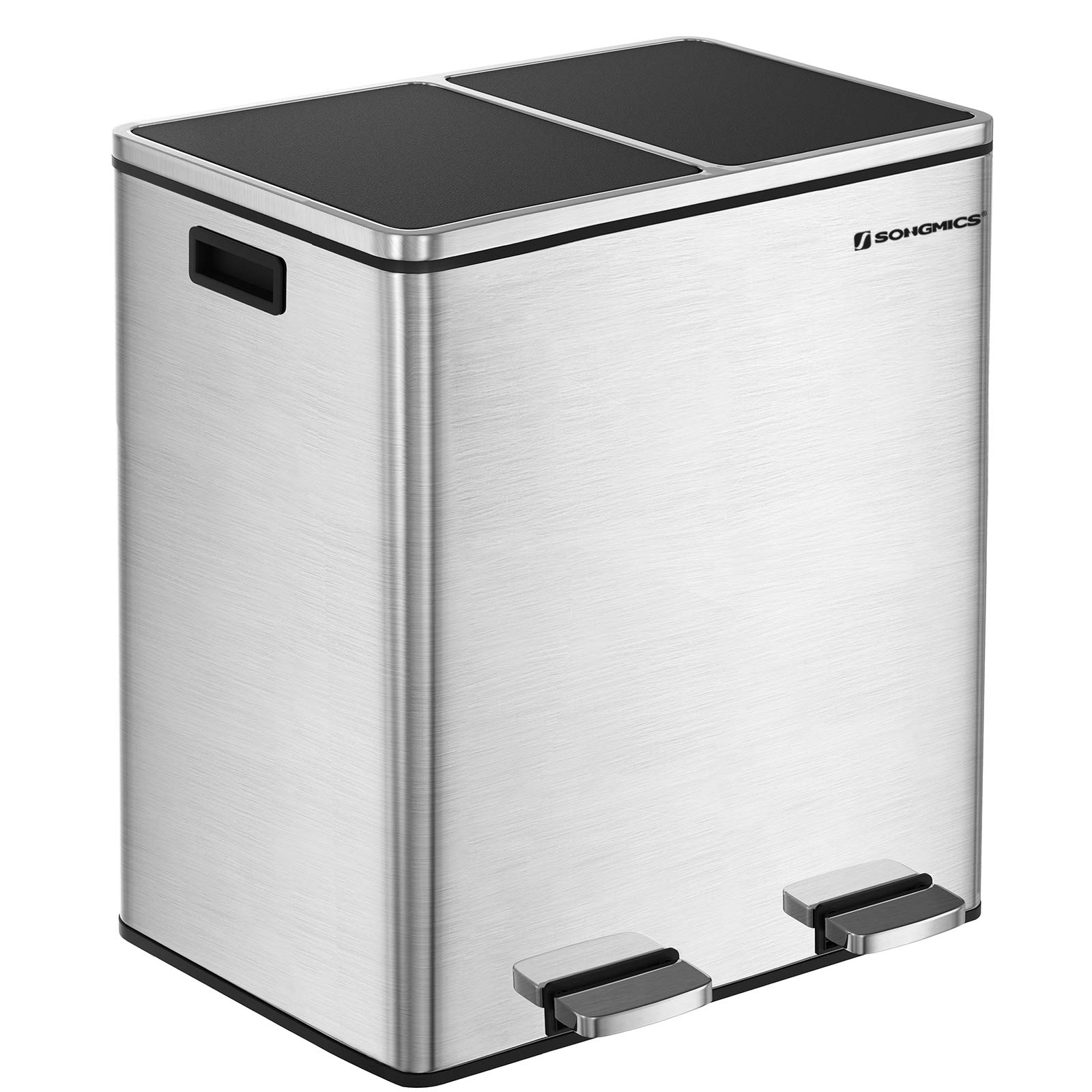 SONGMICS 16 Gallon Step Trash Can, Double Recycle Pedal Bin, 2 x 30L Garbage Bin with Plastic Inner Buckets and Carry Handles, Fingerprint Proof Stainless Steel, Slow Close ULTB60NL by SONGMICS