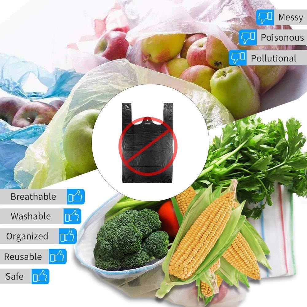 sunvito Obstbeutel und Gemüsebeutel 15, Wiederverwendbare Gemüsenetze Polyester Einkaufstasche, Umweltfreundlich Waschbar Robust Leicht Säcke für Grocery Einkaufen, Aufbewahrung (3 Sizes)