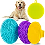 Dog Lick Pad Treater Set - 2 Slow Treat Dispensing Dog Lick Mat with Strong Suction 1 Dog Bath Scrubber Grooming Brush…