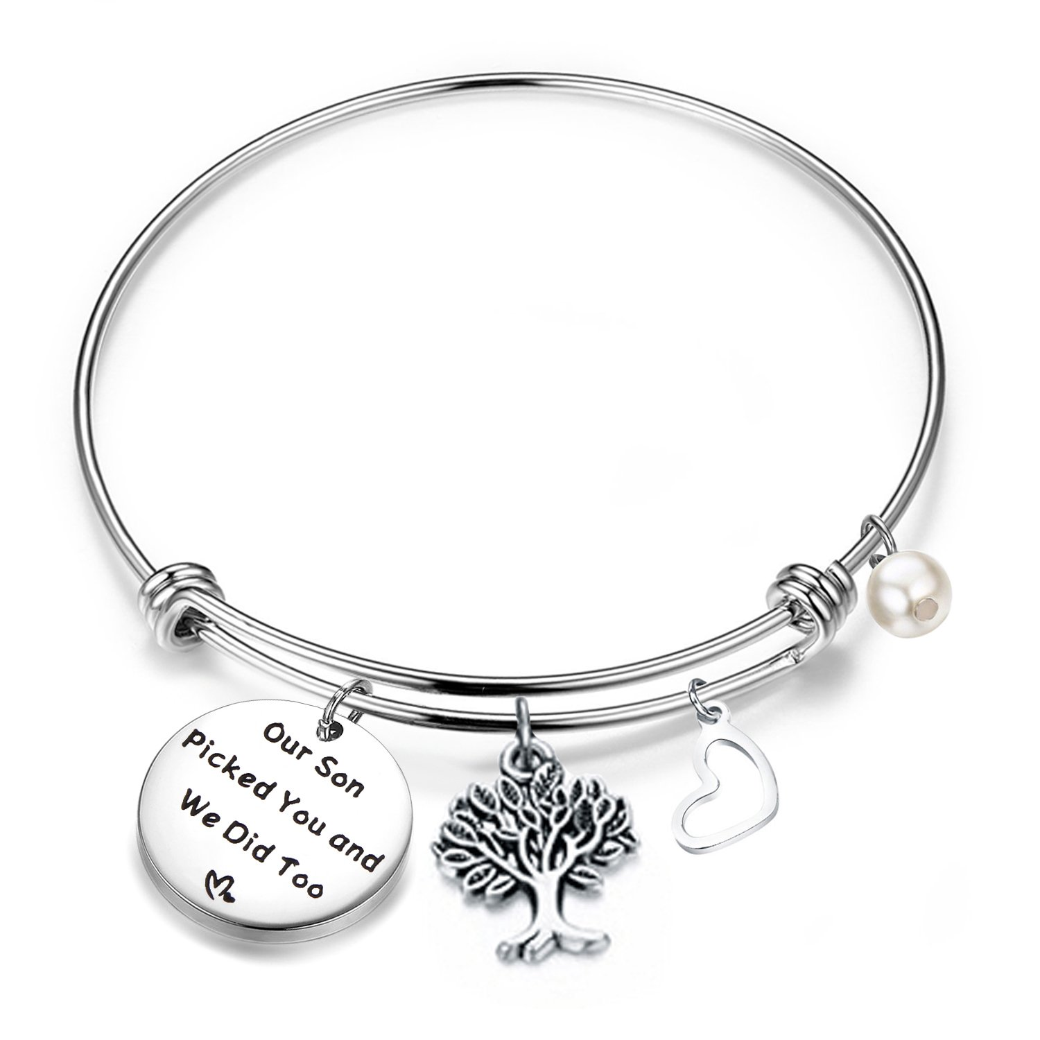 FEELMEM Daughter in Law Gift Our Son Picked You and We Did Too Adjustable Wire Bangle Bracelet for Wedding (Silver)