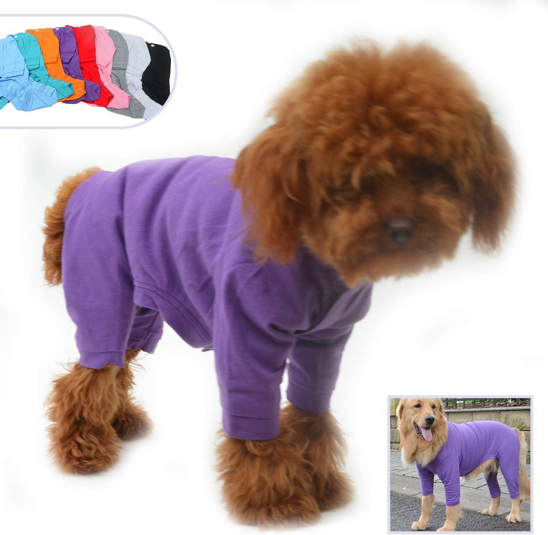Pure Cotton Dog Jumpsuits 4 Legs Dog Onesies T-Shirt Stylish PJS Puppy Costume for Large Medium Small Dogs Black L lovelonglong Four Feet Dog Lightweight Pajamas