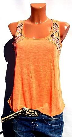 22c1d82e27306 Damen Top Sommer ärmellos Tanktop Tunika T-shirt Bluse Oversize Bunt Neon  Orange (34