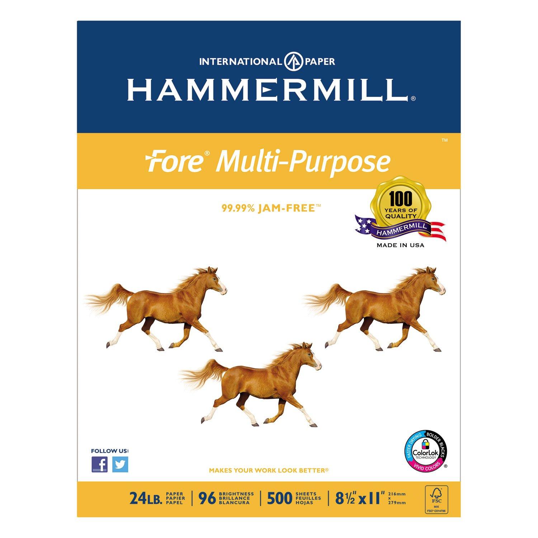 Hammermill 103283 Fore MP Multipurpose Paper, 96 Brightness, 24lb, 8-1/2 x 11, 5000/Carton