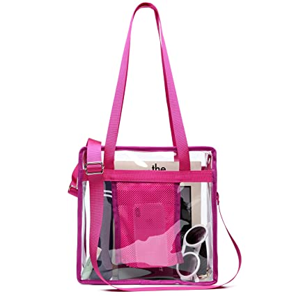 d725412867a0 Clear Purse, iSPECLE Clear Tote Bag with Zipper Approved for NFL, PGA and  NCAA, Adjustable Shoulder Strap for Women and Men - 12 x 12 x 6 inch, ...