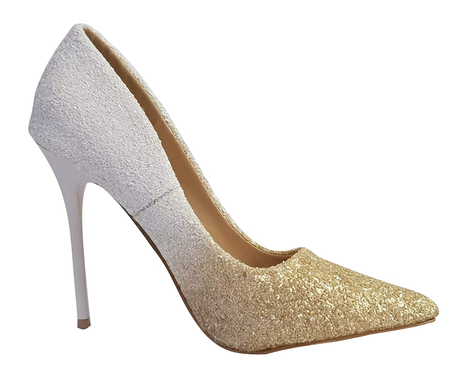 0045 New Ladies Ombre Glitter High Heel Party Evening Court Shoes