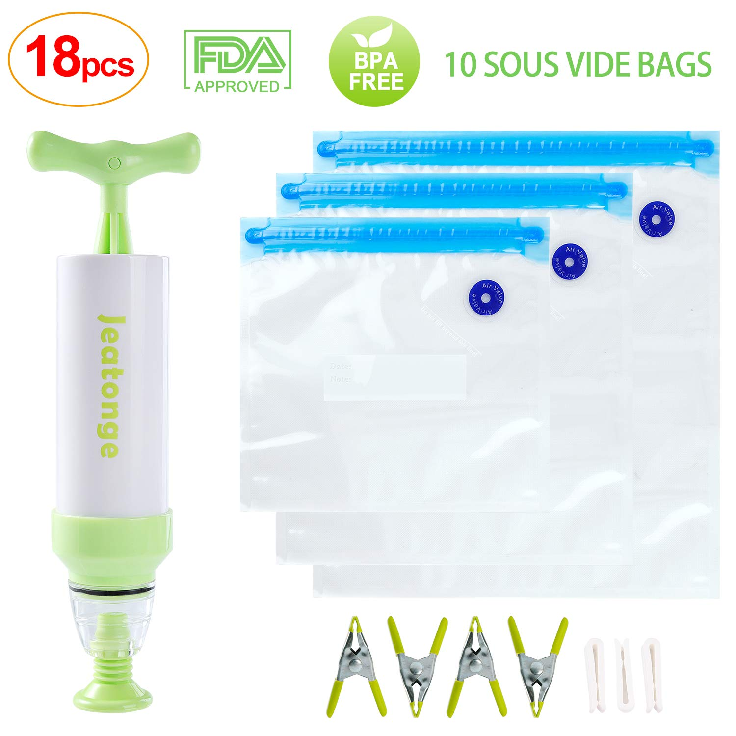 Sous Vide Bags Kit for Anova Cookers 10 Reusable Food Vacuum Sealed Bags, 1 Hand Pump, 3 Bag Sealing Clips and 4 Sous Vide Clips Jeatonge