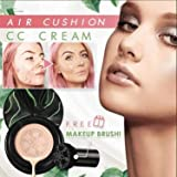 FDHGFG 2 peças de cogumelo CC creme, base de creme Cc cobertura total, almofada de ar para corretivo, com esponja de maquiage