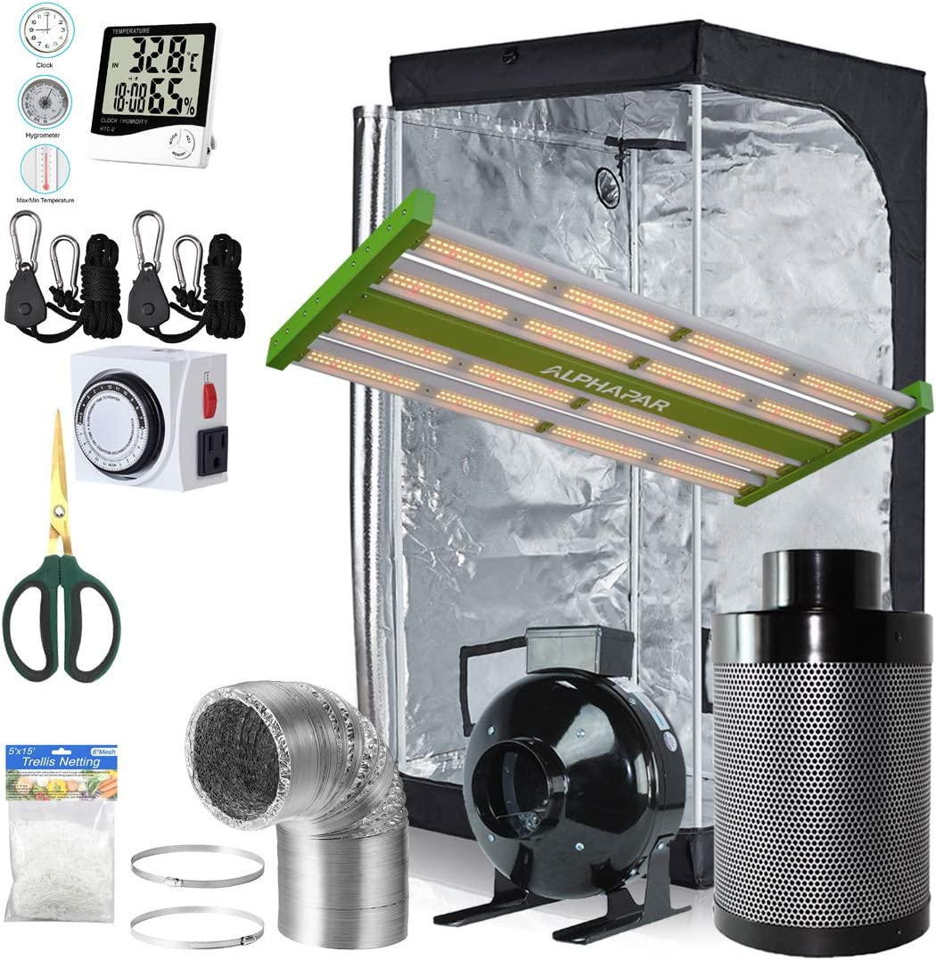 BloomGrow Alphapar 200W New-Tech Sunlike Pro Full Spectrum LED Grow Light Kit 4 inch Inline Fan Filter Duct Kit 32 x32 x63 Hydroponic Mylar Grow Tent Indoor Grow Tent Complete Package Kit