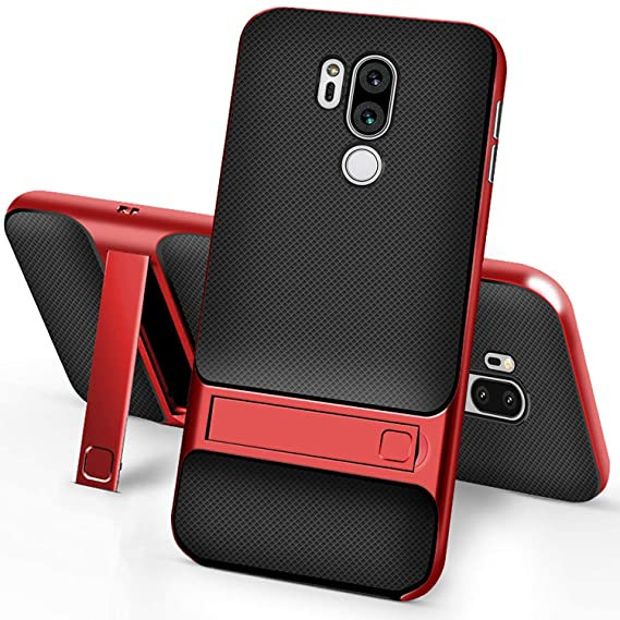 separation shoes ef458 e1712 Setber LG G7 Thinq Case, Soft TPU Back Cover + Hard PC Bumper Dual Layer 2  in 1 with Kickstand for LG G7 (Thinq) Case -Red