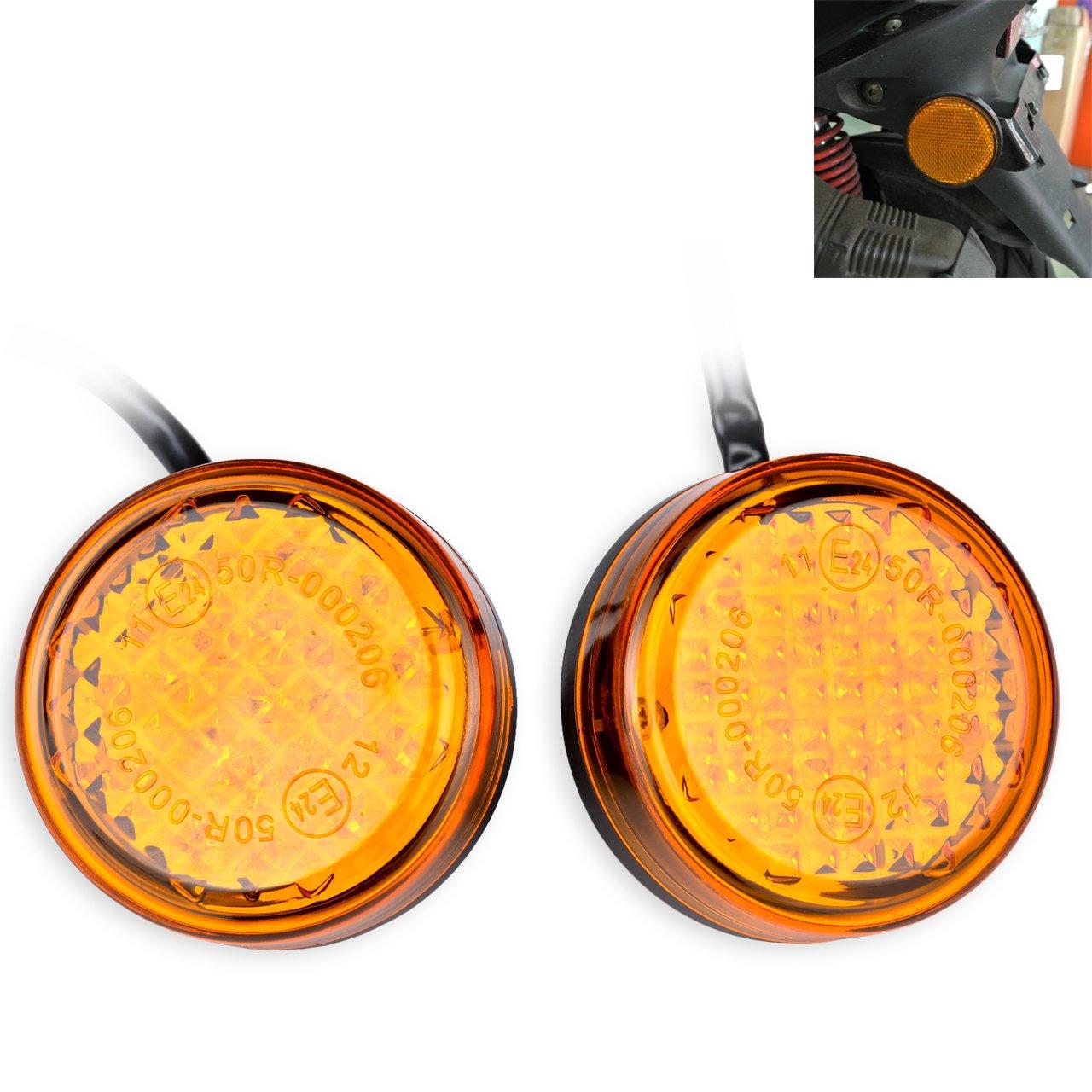 TUINCYN Universel Mini réflecteurs 24LEDs Ambre Jaune indicateurs lumière Ronde Livré Queue de Frein lumière côté marqueurs Runnning lumière pour Moto, Camion, Voiture et Tailers (Lot de 2)