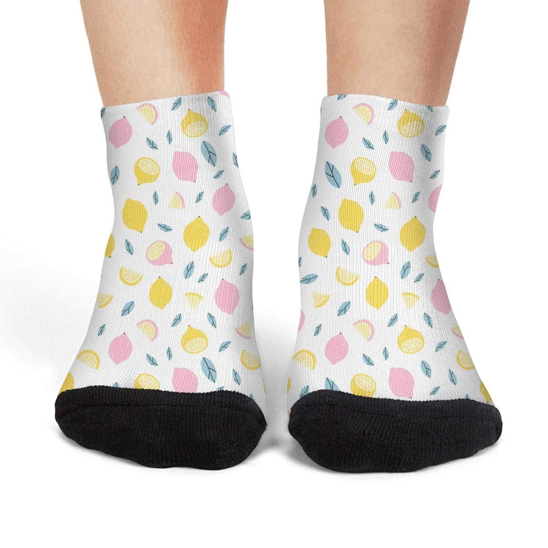 Mens athletic low cut Ankle sock Lemon Tropical Fruit Slice Colorful Short Comfort Sock