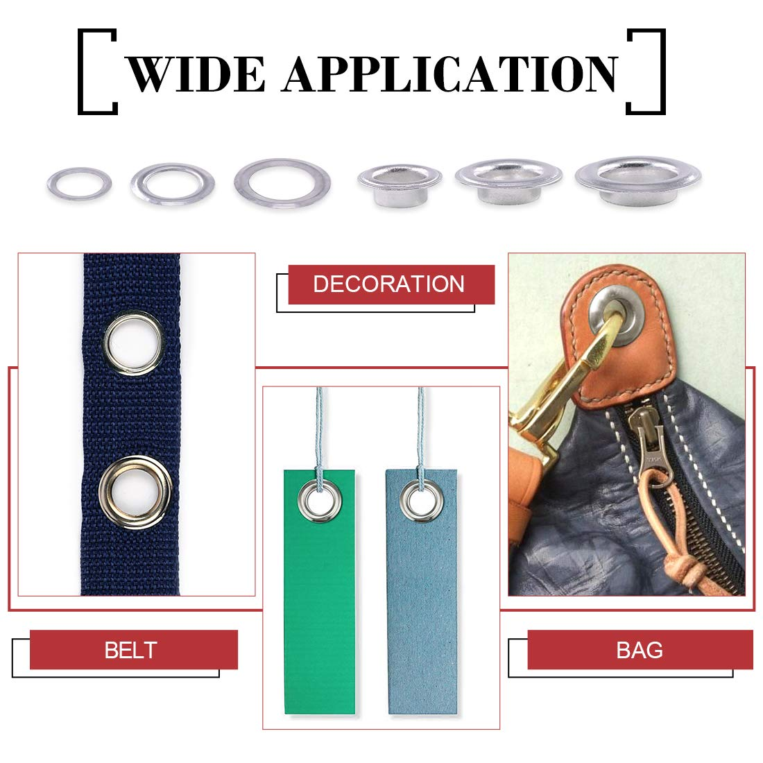 """Hilitchi 230 Sets 2/5"""" 1/2"""" 14/25"""" Aluminum Heavy Duty Grommets Eyelets with Washers for Curtain Leather Canvas Belts and DIY with Storage Box by Hilitchi (Image #6)"""