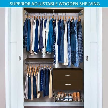 Organized Living FreedomRail Ultimate Adjustable Closet Kit , 48u0026quot;   52u0026quot;, ...