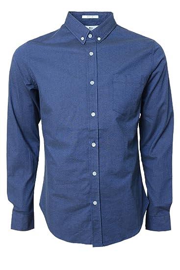 Crosshatch - Camisa de Vestir - Manga Larga - para Hombre Azul Navy - Almond M: Amazon.es: Ropa y accesorios