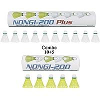 NONGI Combo Plus Plastic Badminton Shuttlecock Pack of 15(White)
