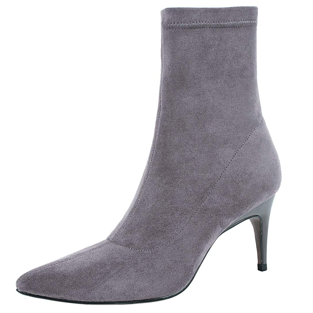 Grey Eithy Women's Shadmi Stiletto Ankle-high Zipper Leather Boots