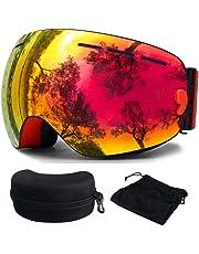 OTBBA Skibrille, Ski Snowboardbrille Brillenträger Schneebrille Verspiegelt- Für Skibrillen mit Anti-Nebel UV-Schutz, Winter Schnee Sport, Austauschbar Sphärische Doppelte Linse für Männer Frauen