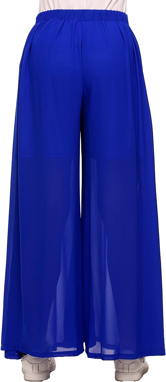 Zeagoo Women Elastic Waist Solid Wide Leg Loose Casual Pleated Chiffon Pants