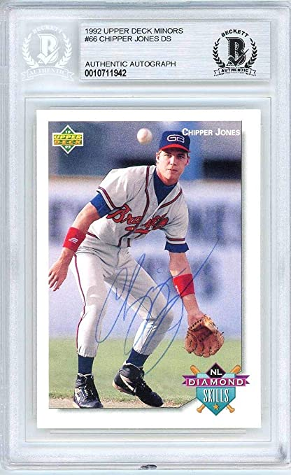 Chipper Jones Autographed 1992 Rookie Card 66 Atlanta
