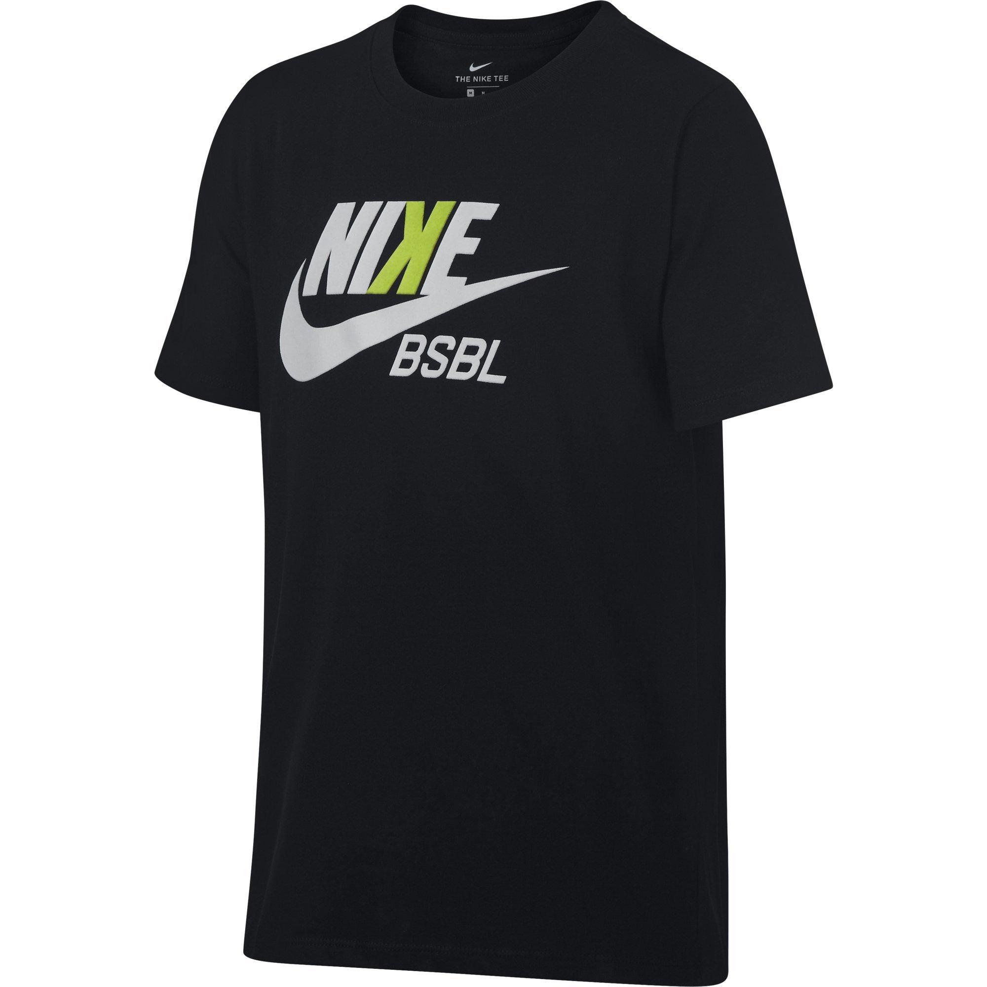 NIKE Boys' Dry Baseball Tee, Black, X-Large