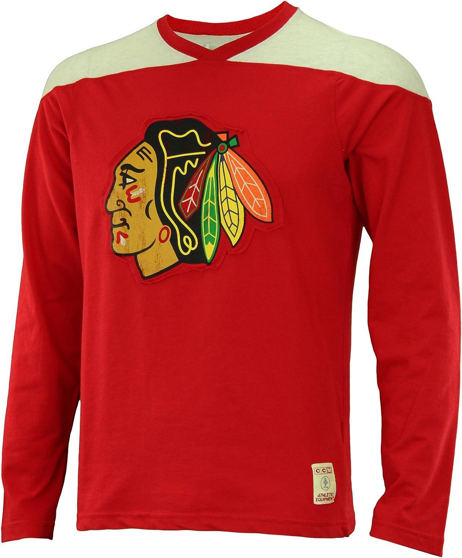 Chicago Blackhawks Red CCM Long Sleeve Applique Crew T-Shirt