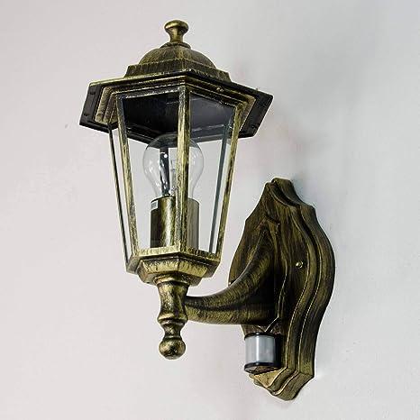"""Antigua-de oro de la lámpara de exterior con sensor de movimiento """"Paris"""""""