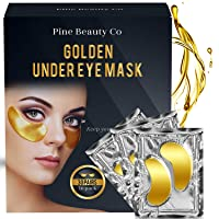 Pine Beauty Co. 24K Gold Under Eye Mask with Collagen Boosting Hyaluronic Acid and...