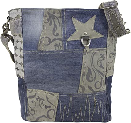 Vintage Stern Schulter Hand Tasche Leder Canvas Jeans Stoff Geldbörse Grau NEU