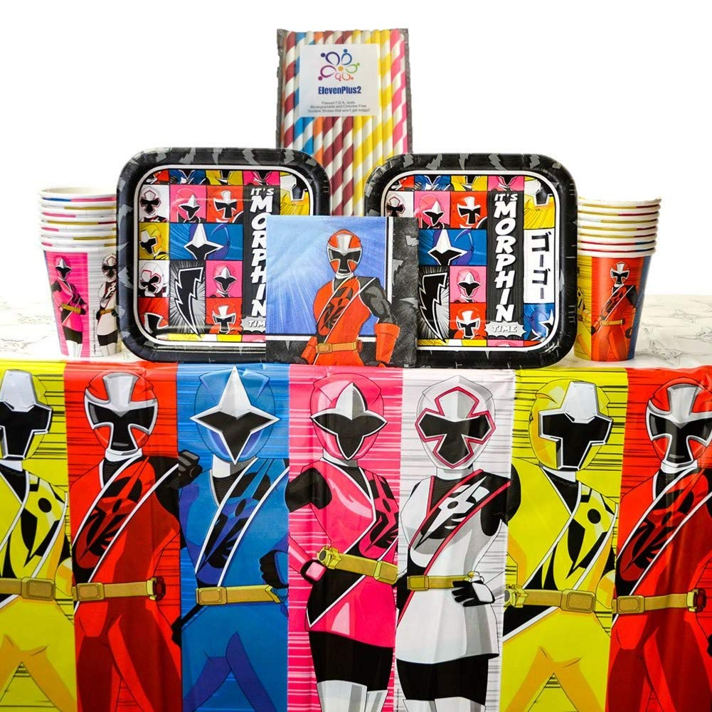 Power Rangers Ninja Steel Party Supplies Pack for 16 Guests - Dessert Plates, Beverage Napkins, Cups, Table Cover and ElevenPlus2 Paper Straws