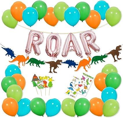 Amazon.com: Decoraciones de fiesta de dinosaurios – Banner ...