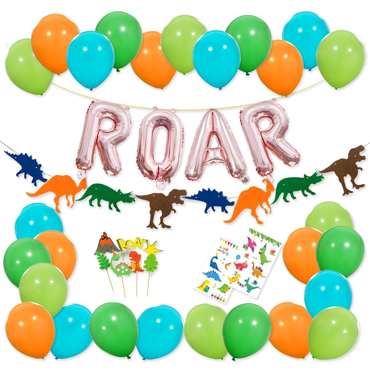 Dinosaur Party Decorations - Rose Gold ROAR Banner Mylar Balloons, Colorful Felt Garland, Dinosaur Cake Topper and Latex Balloons with Tattoo for Dino Jungle Jurassic Dinosaur Birthday Party Supplies Haptda