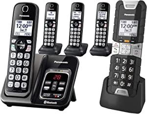 Panasonic Rugged Link2Cell Bluetooth Cordless Phone with Voice Assist, One-Touch Call Block and Answering Machine - 4 Standard Handsets + 1 Rugged Handset - KX-TGD585M2 (Black)