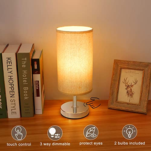 Touch Control Lamp, Aooshine Minimalist Bedside Table Desk Lamp Modern Accent Lamp Dimmable Touch Sensor Light with Cylinder Lamp Shade Night Light Nightstand Lamp for Bedroom 2 LED Bulb Included