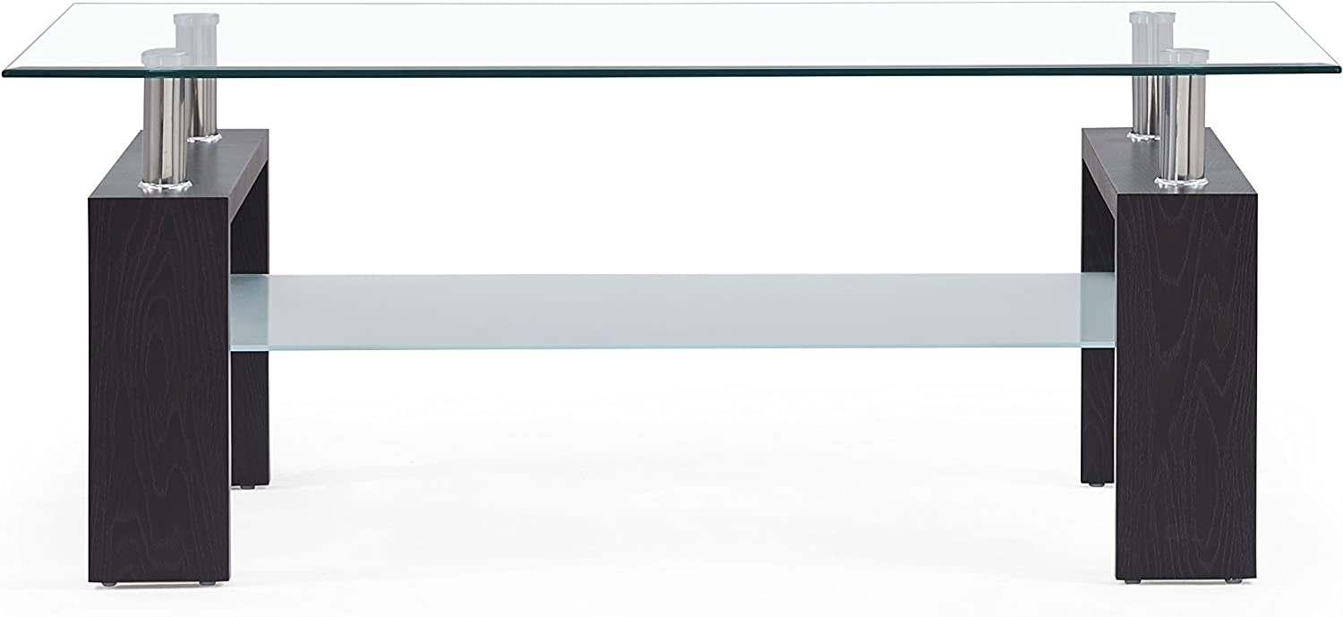 Global Furniture Clear/Frosted Occasional Coffee Table with Dark Walnut Legs