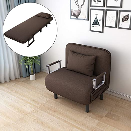 Folding Sleeper Chair Convertible Sofa Bed Recliner Lounge Position Folding  Sleeper Arm Couch Small Apartment Small Room Space-Saving Creative Home ...