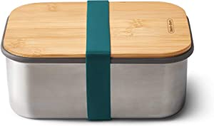 BLACK + BLUM Plastic Free Meal Prep Lunch Food Container with Bamboo Lid, Ocean Stainless Steel Sandwich Box, 1.25L/ 42 fl oz