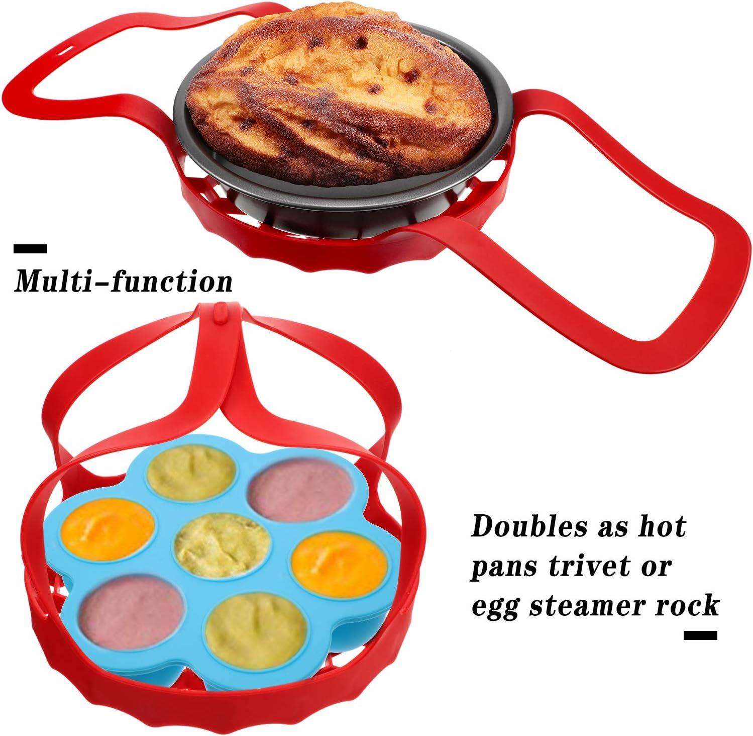 Silikon Schnellkochtopf Schlinge Eier Backformen Heber und Eier Bei/ßt Schimmel Eierpfanne mit Deckel Kompatibel mit Meisten Multifunktion Kocher