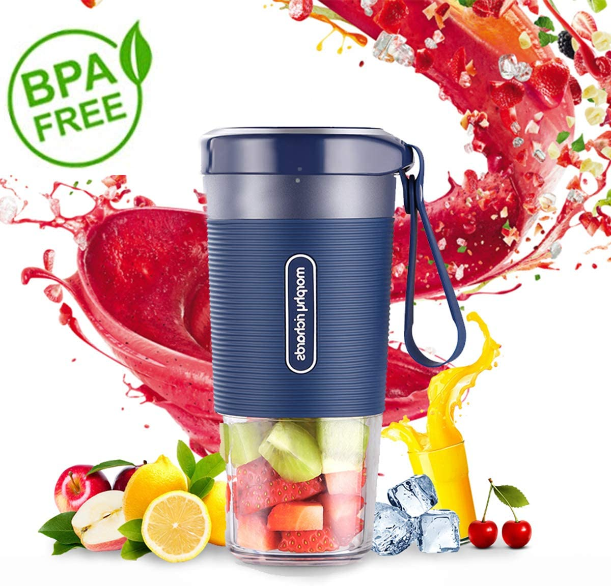 Portable Blender, Mini Personal Blender,Small Smoothie Blender, Fruit Juicer Mixer for Home Outdoor Travel Office with USB Rechargeable,IP68 Waterproof, BPA Free,350ml Luxury Blue