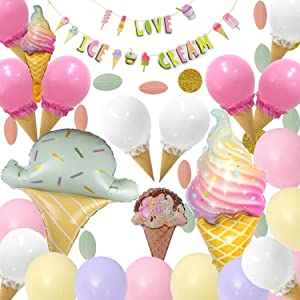 Ice Cream Party Decorations - 62Pcs,Ice Cream Party Supplies with Ice Cream Banner,DIY Ice Cream Balloons,Ice Cream Mylar Balloons,Pastel Balloons for Summer Girls Kids Birthday Party Baby Show Decorations