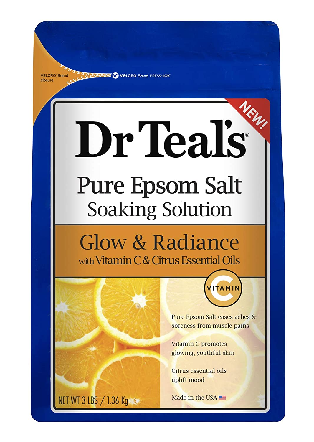 Dr. Teal's Glow & Radiance with Vitamin C & Citrus Essential Oils Pure Epsom Salt Soaking Solution 3lbs Pack of 2