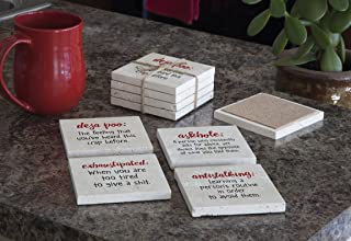 product image for Imagine Design Relatively Funny Deja Poo, Askhole:, Exhaustipated:, Antistalking:, 4-Pk Assort Travertine Coasters, Red/Black/White