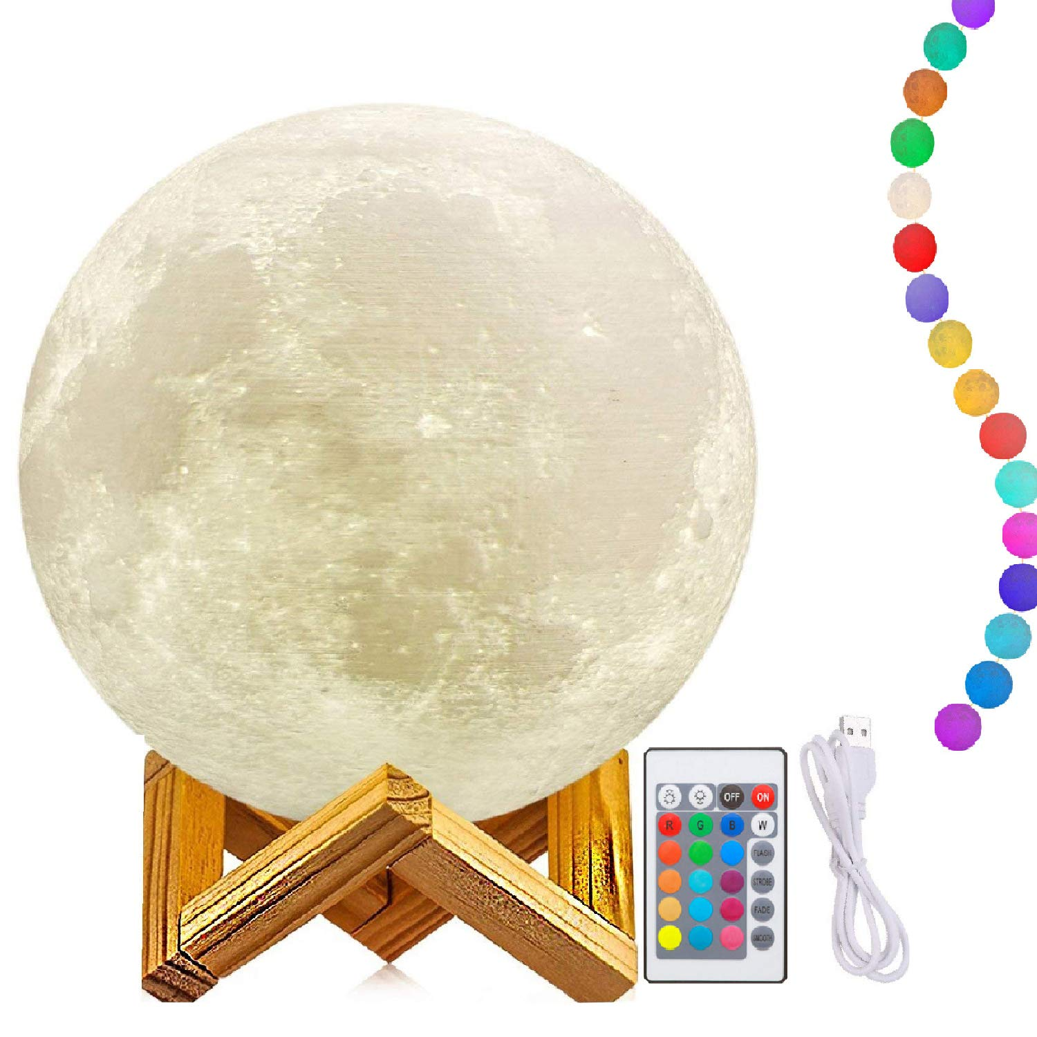12 Inch Moon Lamp with Stand, 3D Printing Moon Light, The Moon Night Light with LED 16 Colors, Touch Control and Remote Control (Diameter31CM)